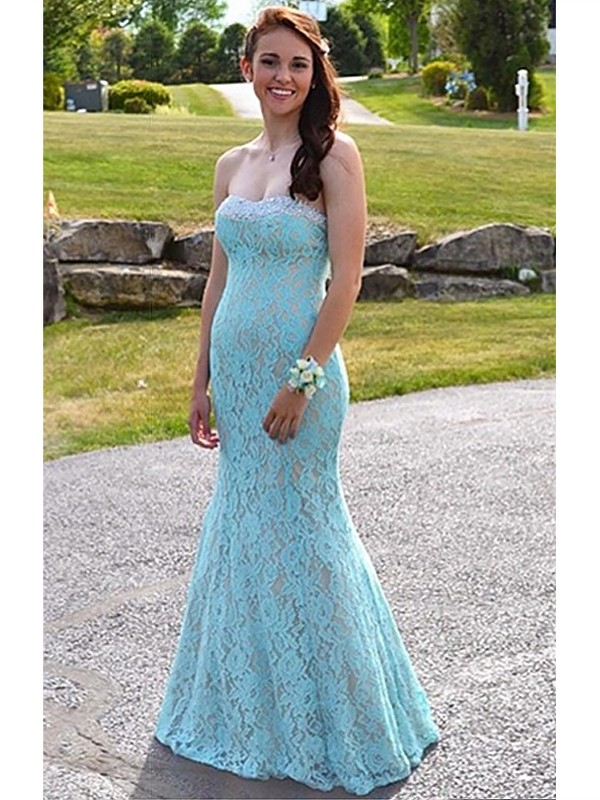 Mermaid Sweetheart Lace With Beading Floor-Length Dress