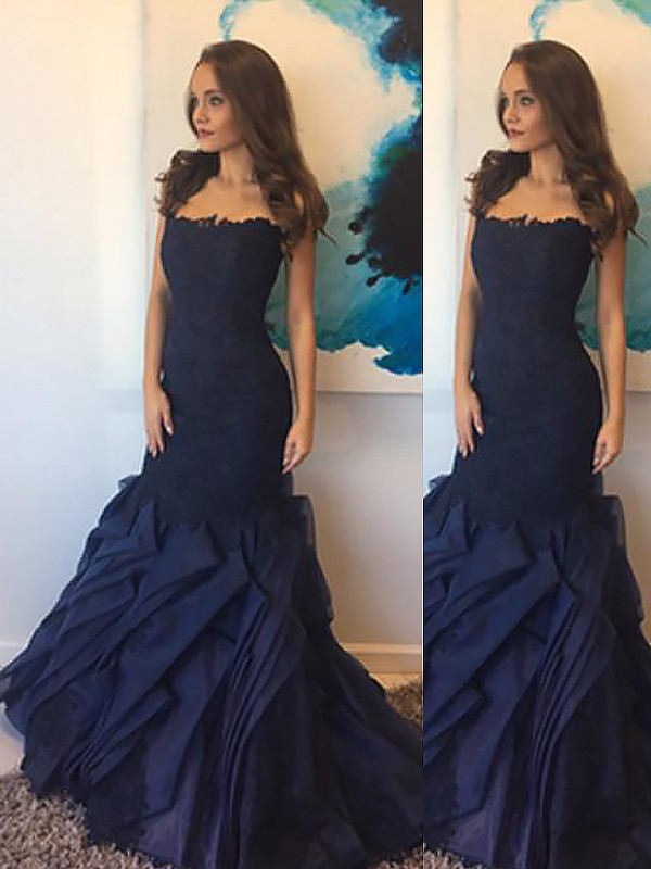 Mermaid Strapless Taffeta With Lace Floor-Length Dress