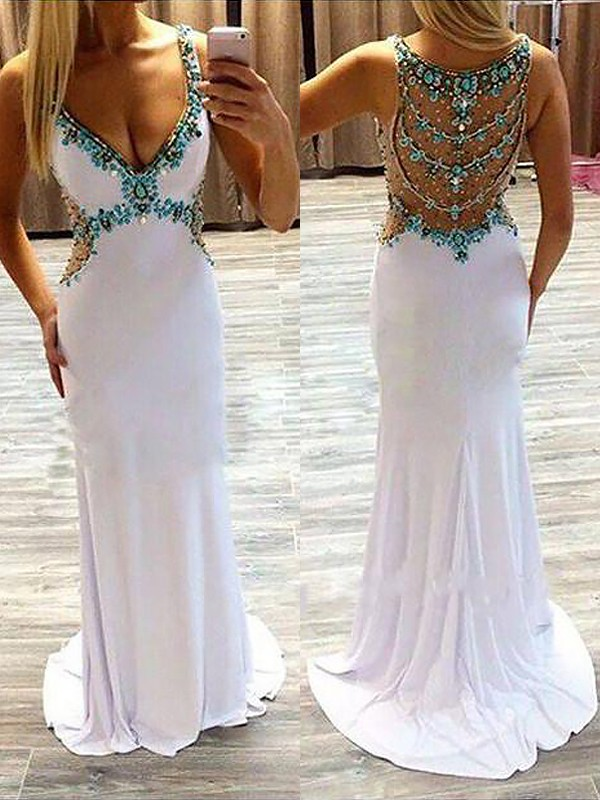 Styled to Smile Princess Style V-Neck Sweep/Brush Train With Beading Spandex Dress