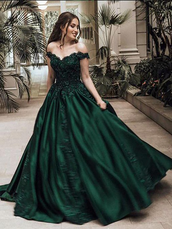 Ball Gown Off-the-Shoulder Floor-Length With Lace Satin Dress