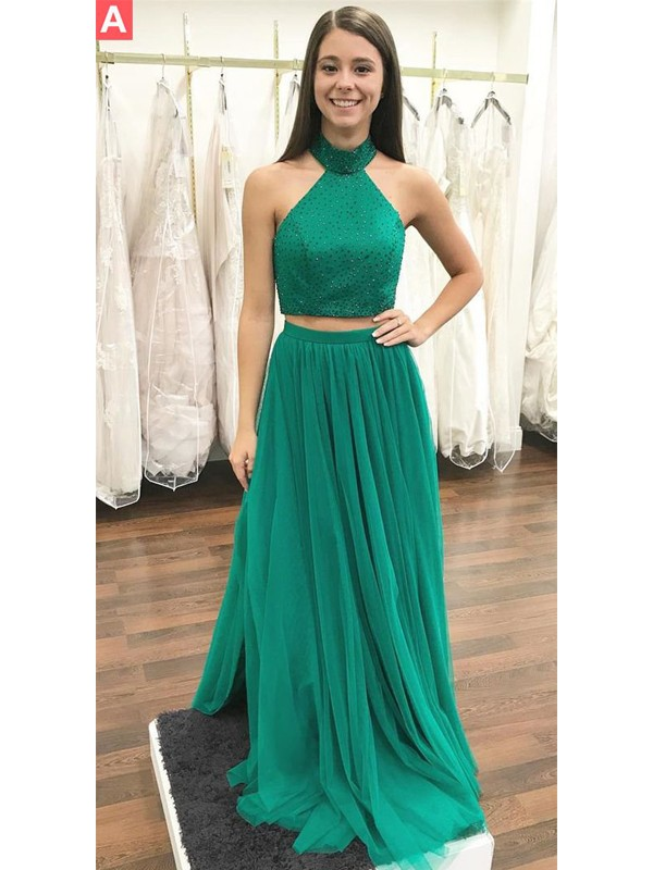A-Line Halter Floor-Length With Beading Tulle Two Piece Dress