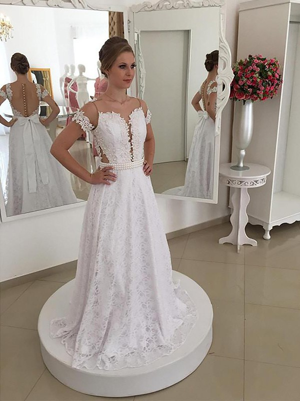 A-Line Scoop Lace Sweep/Brush Train Short Sleeves Wedding Dress