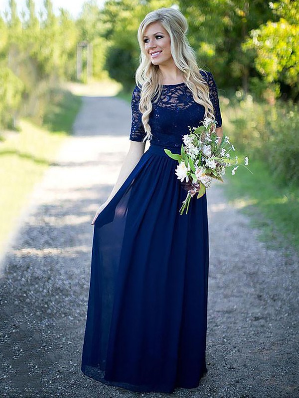 A-Line Scoop 1/2 Sleeves Floor-Length Chiffon Bridesmaid Dress