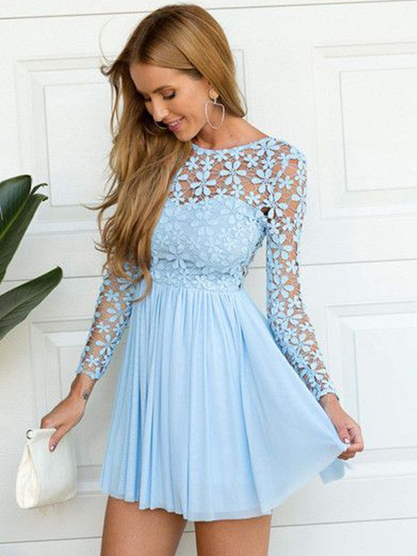 A-Line Princess Scoop Long Sleeves Lace Short/Mini Chiffon Dress
