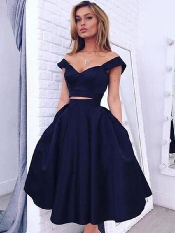 A-Line Satin Off-the-Shoulder Knee-Length With Ruffles Dress