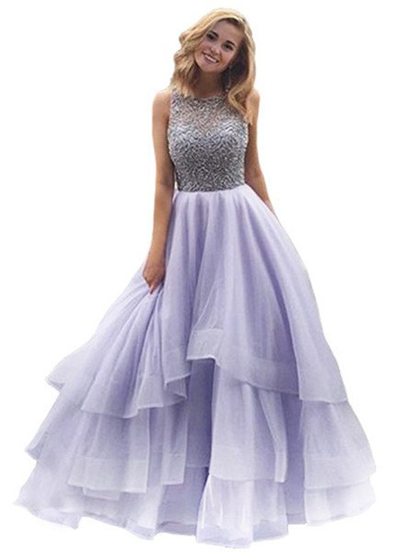 Ball Gown Scoop Floor-Length Beading Organza Dress