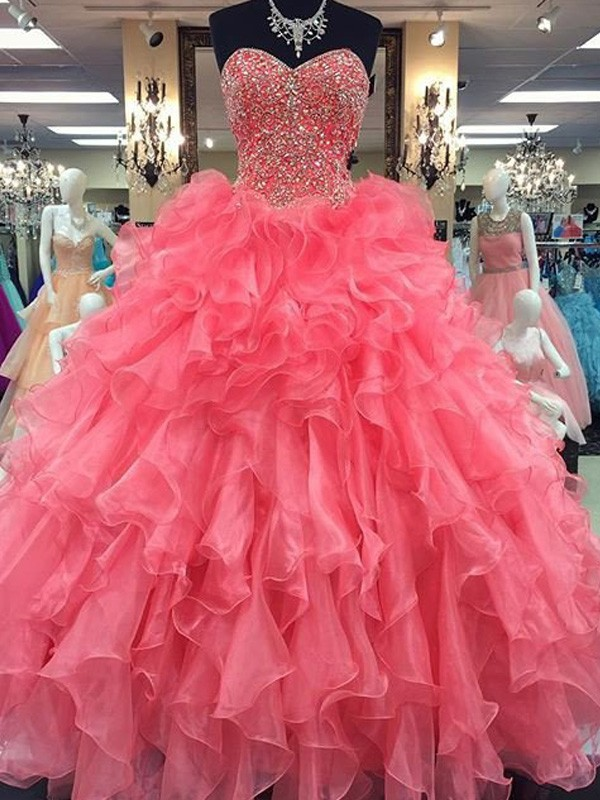 Ball Gown Sweetheart Floor-Length Beading Organza Dress