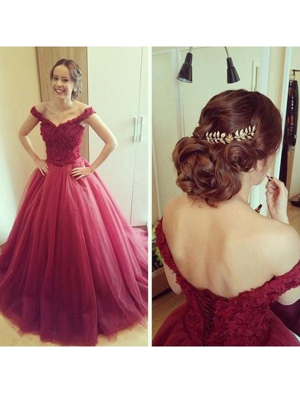 Modern Mood Ball Gown Off-the-Shoulder Applique Court Train Tulle Dress