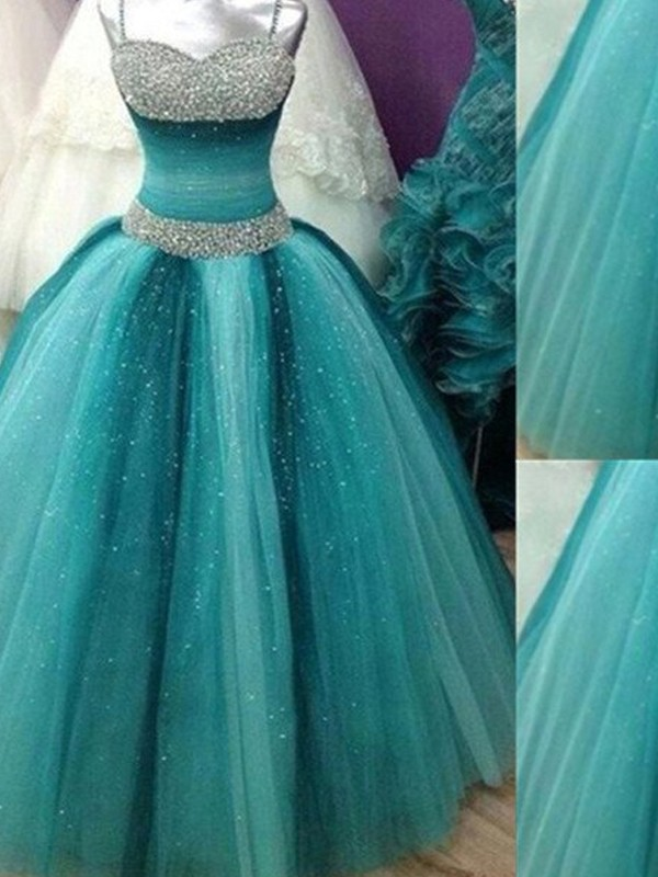 Ball Gown Spaghetti Straps Beading Tulle Floor-Length Dress