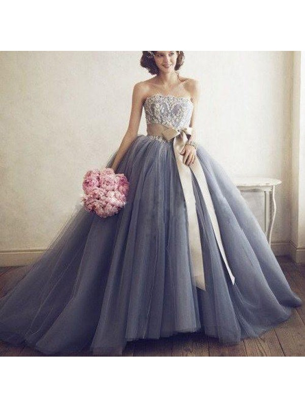 Pleased to be Me Ball Gown Sweetheart Applique Tulle Sweep/Brush Train Dress