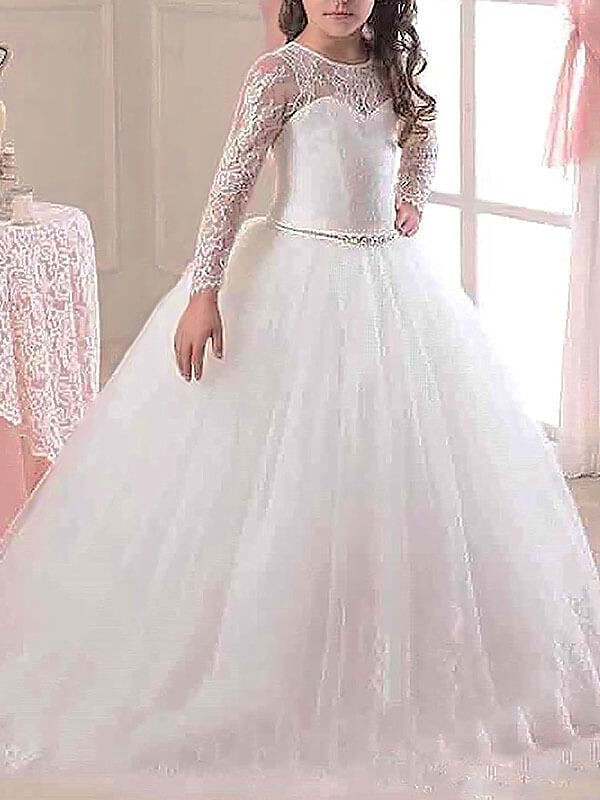 Ball Gown Scoop Long Sleeves Floor-Length Lace Tulle Flower Girl Dress