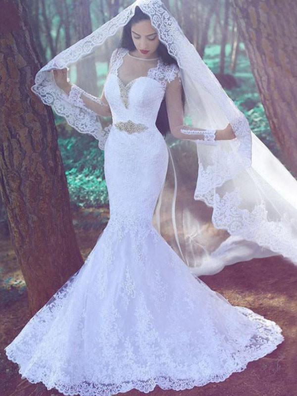 Mermaid With Applique Sweetheart Long Sleeves Lace Court Train Wedding Dress
