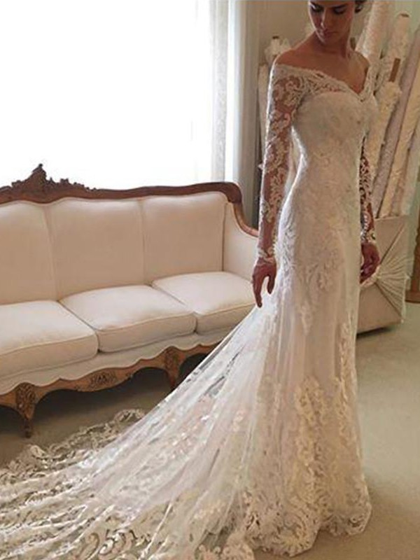 Sheath Long Sleeves Lace Off-the-Shoulder Court Train Wedding Dress