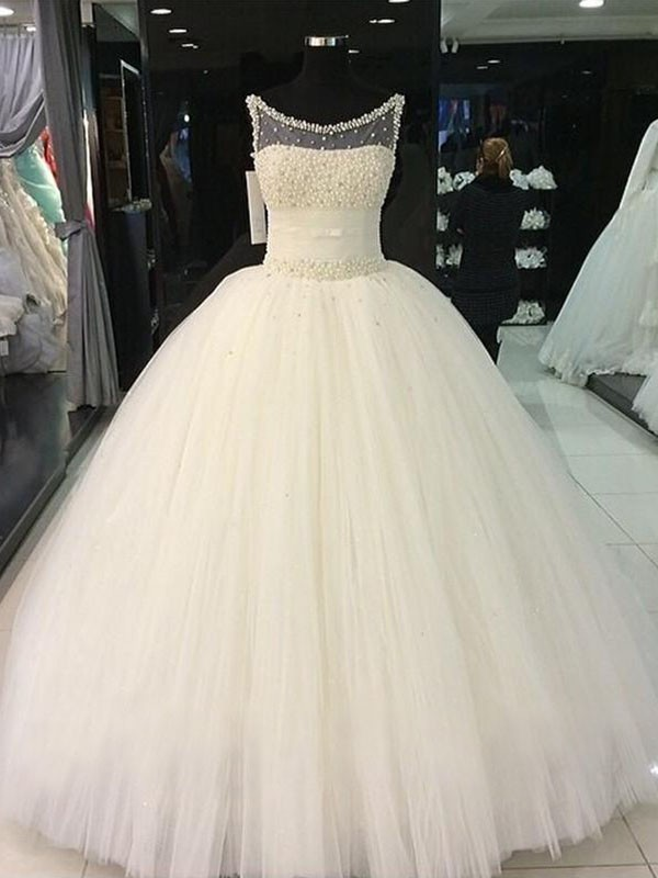 Ball Gown Scoop With Beading Tulle Floor-Length Wedding Dress