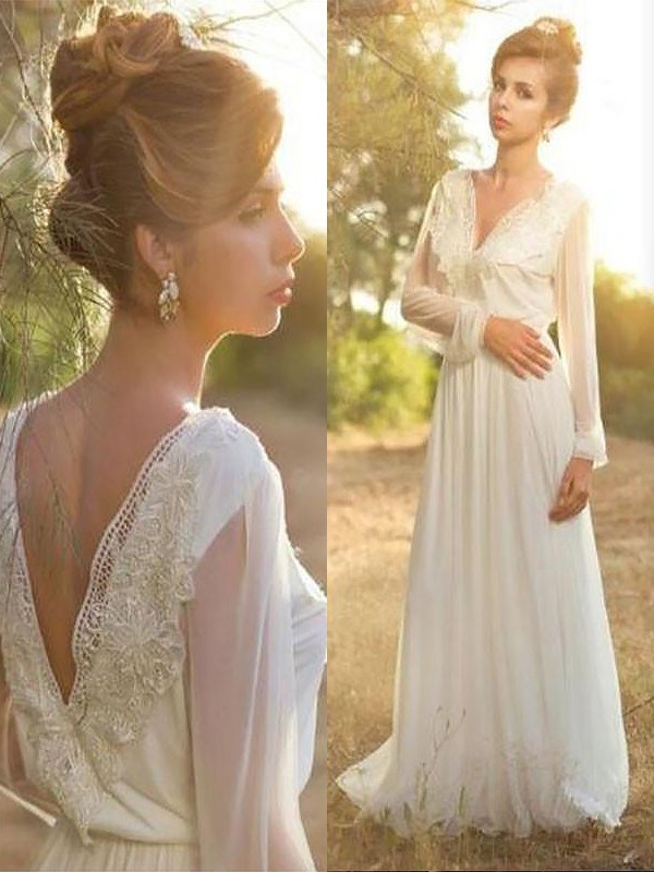 A-Line V-neck Long Sleeves Lace Chiffon Sweep/Brush Train Wedding Dress