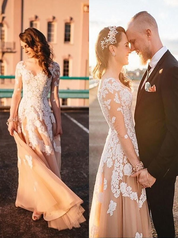 A-Line Tulle V-neck Long Sleeves Lace Sweep/Brush Train Wedding Dress