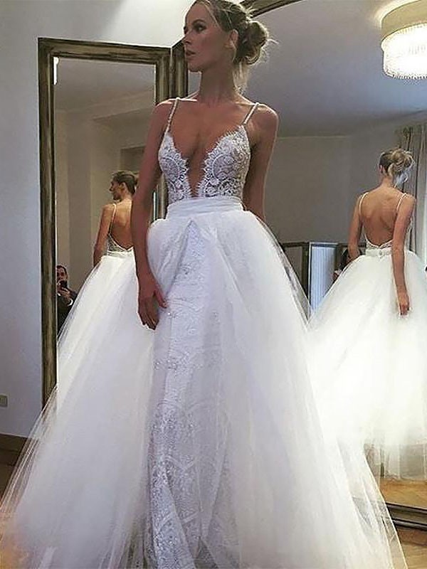 A-Line Tulle Lace Spaghetti Straps Floor-Length Wedding Dress