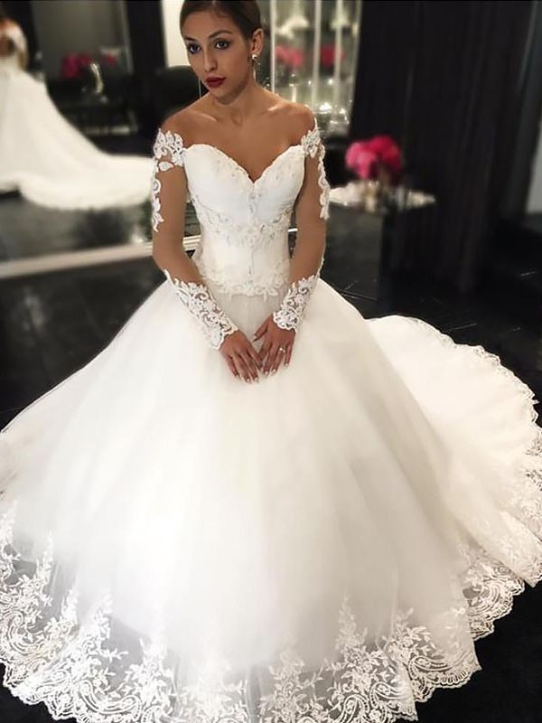 Ball Gown With Applique Tulle Off-the-Shoulder Court Train Wedding Dress