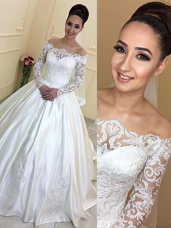 Ball Gown Long Sleeves Off-the-Shoulder Satin Court Train Wedding Dress