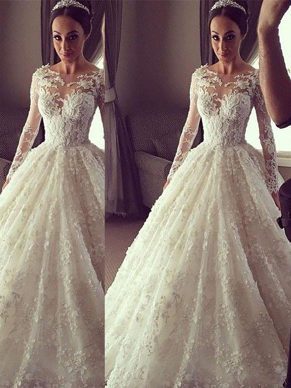 Ball Gown Long Sleeves Scoop Court Train Lace Wedding Dress