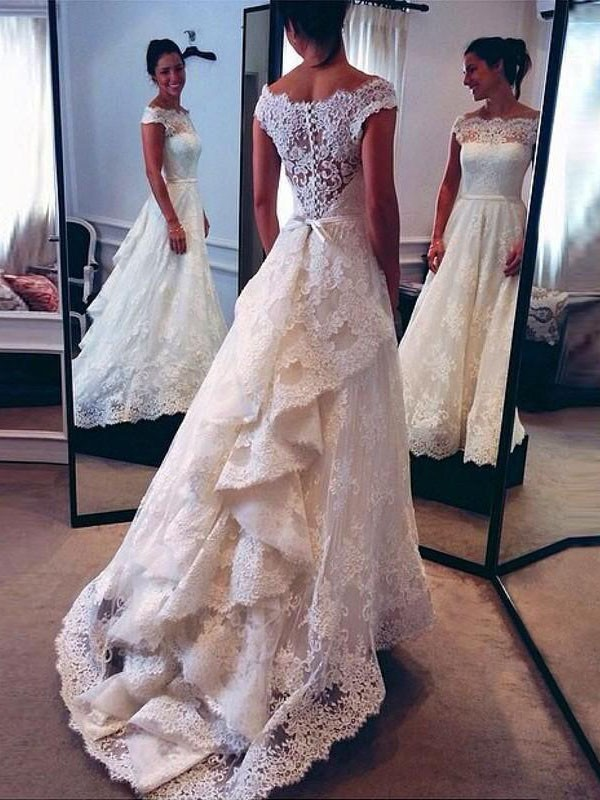 A-Line Scoop Lace Court Train Wedding Dress