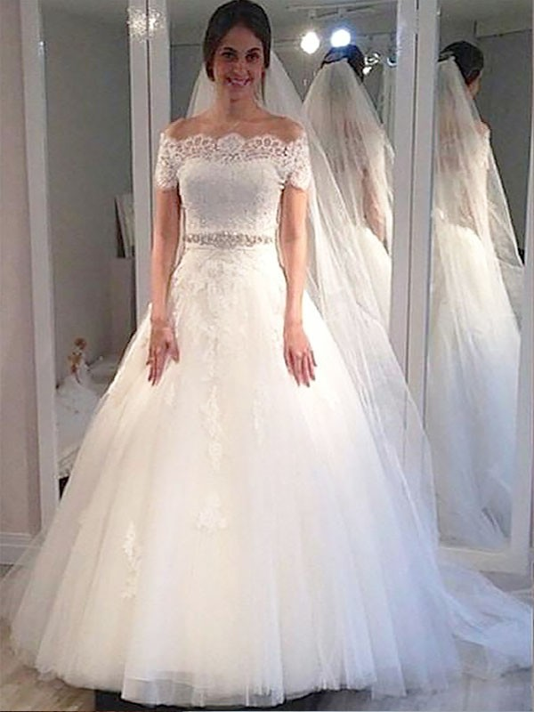 Ball Gown Off-the-Shoulder Short Sleeves Tulle Sweep/Brush Train Wedding Dress