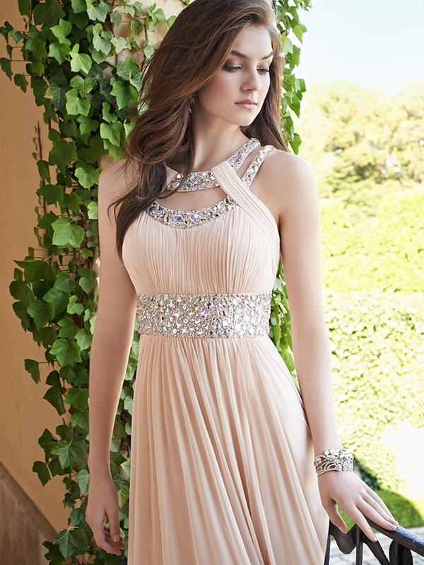 A-Line Princess Bateau Beading Chiffon Floor-Length Dress