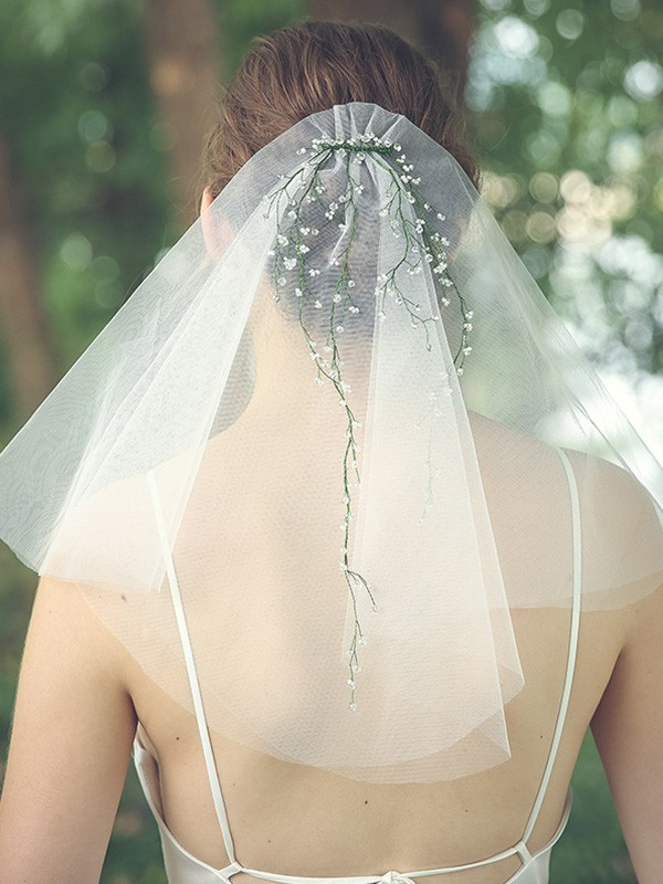 Brilliant Tulle Two-Tier Shoulder Veils With Rhinestone/Beading