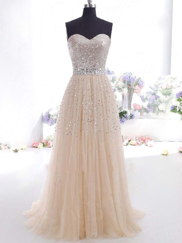 A-Line Princess Sweetheart Tulle Floor-Length Dress