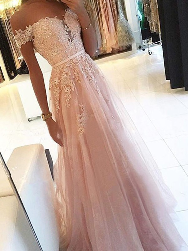 Creative A-Line Off-the-Shoulder Floor-Length Applique Tulle Dress
