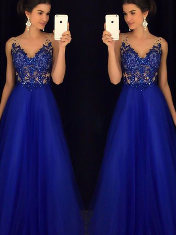 Highly Elegant A-Line V-neck Floor-Length Applique Tulle Dress