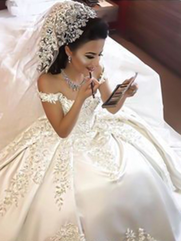 Shiny Ball Gown Off-the-Shoulder Sweep/Brush Train Applique Satin Wedding Dress