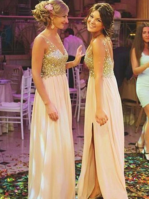 Adorable A-Line V-neck Floor-Length Sequin Chiffon Bridesmaid Dress