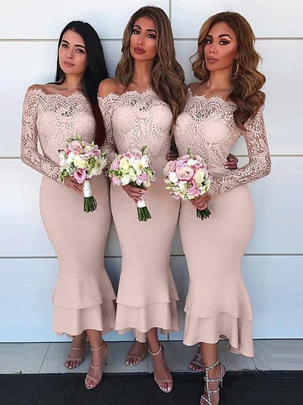 Sheath Style Off-the-Shoulder Ankle-Length Lace Jersey Bridesmaid Dress