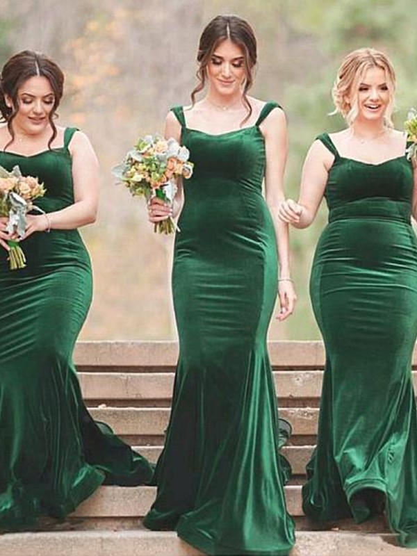 Desired Sheath Style Spaghetti Straps Sweep/Brush Train Ruffles Velvet Bridesmaid Dress