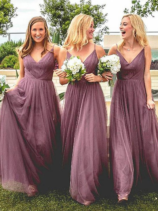 Creative A-Line Spaghetti Straps Floor-Length Ruffles Tulle Bridesmaid Dress