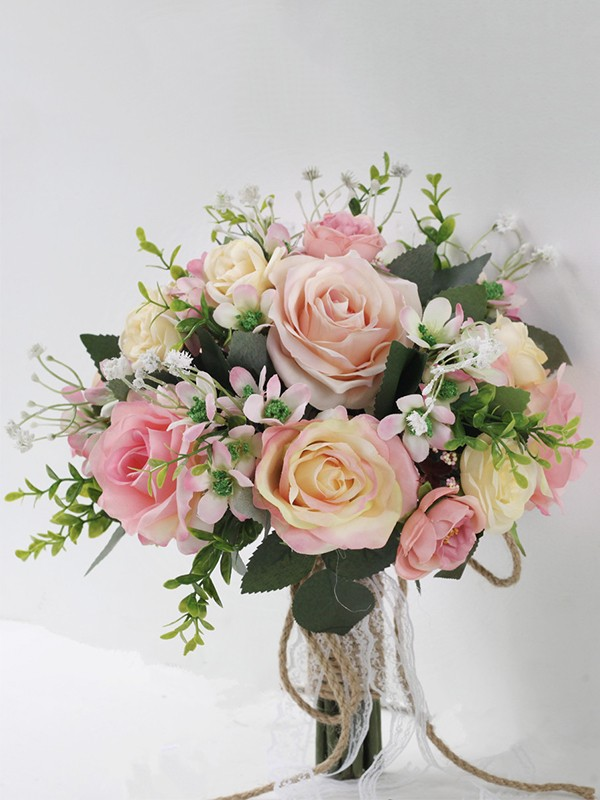 Gorgeous Round Silk Flower Bridal Bouquets