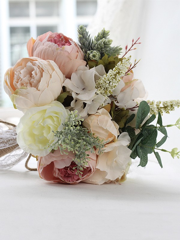 Free-Form Graceful Silk Flower Bridal Bouquets