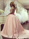 Ball Gown Long Sleeves Off-the-Shoulder With Beading Satin Floor-Length Dresses