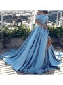 A-Line Sleeveless Off-the-Shoulder With Ruffles Satin Court Train Dresses