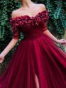 Sweet Sensation Princess Style Off-the-Shoulder Sweep/Brush Train Ruffles Tulle Dresses