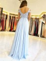 Styled to Smile Princess Style Off-the-Shoulder Floor-Length Applique Chiffon Dresses