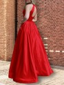 Savor the Occasion Princess Style Halter Sleeveless Floor-Length Beading Satin Dresses